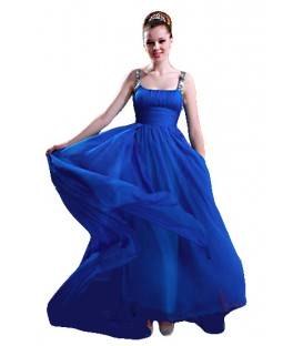 Dlhé modré spoločenské šaty na ramienka 80905