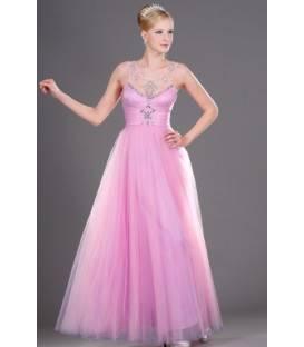 Dlhé ružové spoločenské šaty na ramienka 105601