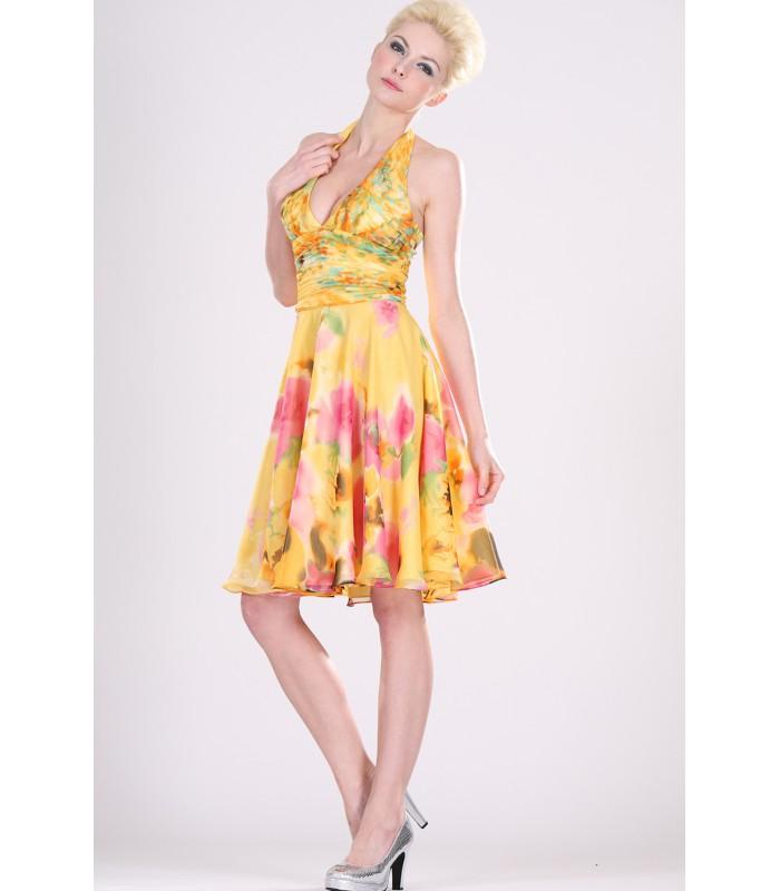 ... Krátke kvetované spoločenské šaty s ramienkami okolo krku 99403.  Výpredaj d0a12c3e7f9